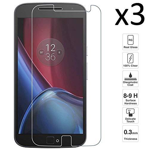iGlobalmarket [3 Unidades Protector de Pantalla Motorola Moto G4 Plus, Vidrio Templado, sin Burbujas, Alta Definicion, 9H Dureza, Resistente a Arañazos