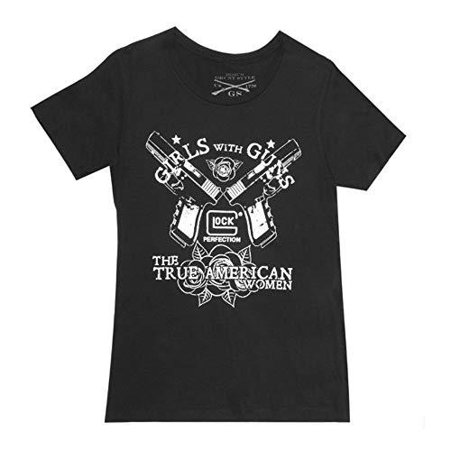 Glock Kurzarm-Shirt, Unisex-Erwachsene, Girls With Guns, schwarz, X-Small
