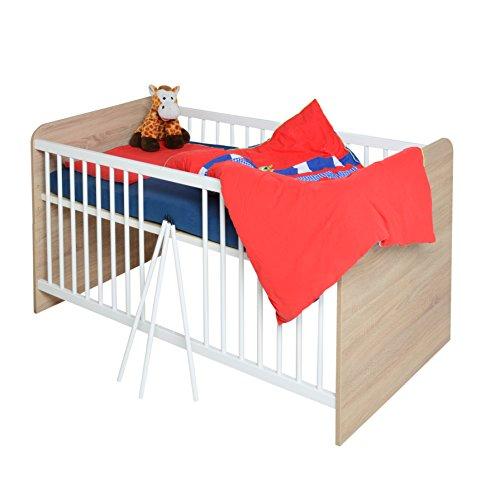 Babybett Kinderbett 70x140cm in Sonoma Eiche - weiß 2079-5