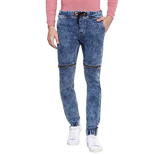 Urbano Fashion Men's Blue Zippered Slim Fit Jogger Jeans Str