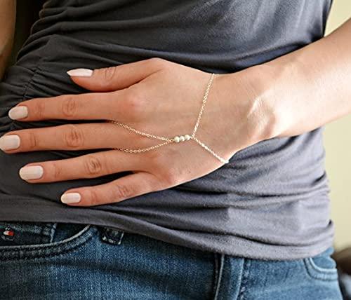 XKMY Cadena de mano con anillo de perlas pulseras de verano y brazaletes de oro simple para pulsera de boda feminina regalos de dama de honor (color metal: oro)