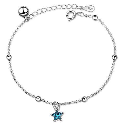 DJMJHG Pulseras y brazaletes con dijes de Estrella de Cristal Azul de Plata de Ley 925 para Mujer, Accesorios de joyería, Regalos