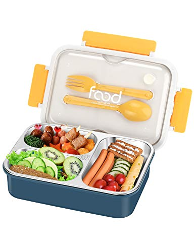 Aitsite Lunchbox Edelstahl, Edelstahl Brotdose Mit 3 Fächern und Besteck 620ml, spülmaschinenfest, Auslaufsicher Bento Box für Kinder und Erwachsene