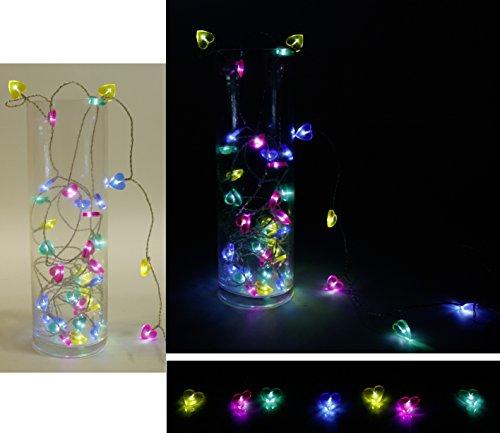 Guirlande lumineuse acrylique – Coeur LED 8 M batteriebetr. Jaune Rose Bleu Vert 40 's Party batt. avec