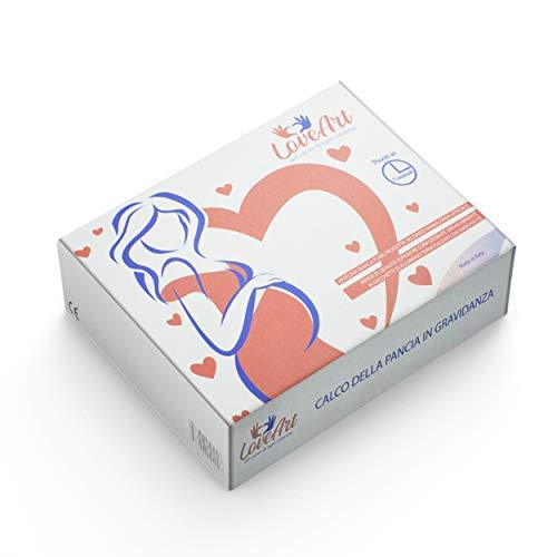 LoveArt Kit 3D para Impresión de Vientre de Embarazada 10 vendajes de yeso de fraguado rápido, vaselina 30g, papel de lija Listo en 48 horas Marca CE Hecho en Italia - Regalo para futura madre