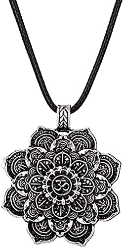 Collar Vintage Collar Mandala Amuleto Lotus Meditación Colgante Collar Geometría Espiritual Religiosa Collares Amantes Joyería Regalo