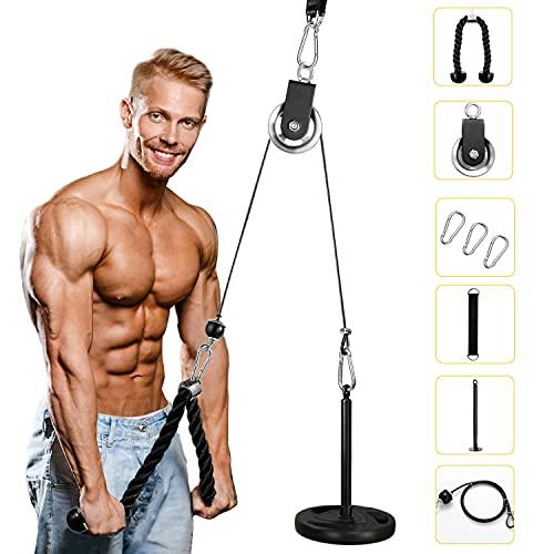 Tumax Poleas Gimnasio para Casa, Fitness Polea Cable Máquina de Musculación Entrenamiento de Fuerza con Cuerda Tríceps, Fuerza y Entrenamiento Equipo para Fitness