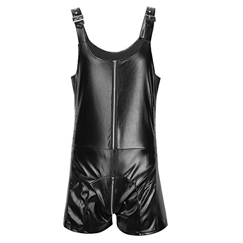 iEFiEL Mens Wet Look Butcher Zipper Romper Bodysuit Clubwear Costume Black XL