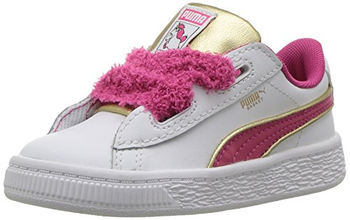 Puma Kids para Mujer Minions Cesta corazón Esponjoso Inf (Toddler), White/Beetroot, 15 MX M Niñito