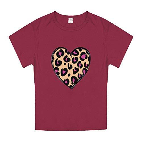 KIMODO Womens Valentinstag Liebe Herz Plaid Print Oansatz Kurzarm Tops Bluse T-Shirt T-Shirt Mode Paar Shirt (Wassermelonenrot, XXX-Large)