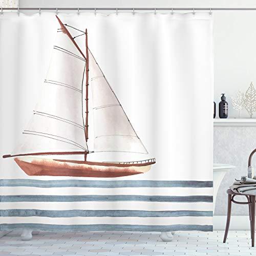 ABAKUHAUS Nautisch Duschvorhang, Thema Segeln Boot Wellen, Moderner Digitaldruck mit 12 Haken auf Stoff Wasser und Bakterie Resistent, 175 x 180 cm, Zimt Hellblau
