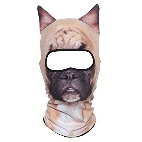 AXBXCX 3D Animal Ears Fleece Thermal Neck Warmer Windproof Hood Cover Face Mask Protection for Ski Snowboard Snowmobile Halloween Winter Cold Weather French Bulldog MDD-26