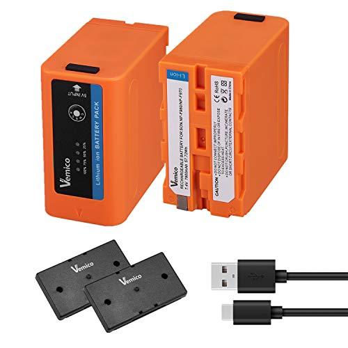 Vemico Batería para NP-F970 2 X 7800mAh NP-F970/980/750/550/770/530/960/570/950/930 Reemplazo Batería LED con Cable Tipo-C para Cámara HDR-AX2000E/DCR-VX2100E/FDR-AX1E/HXR-NX3
