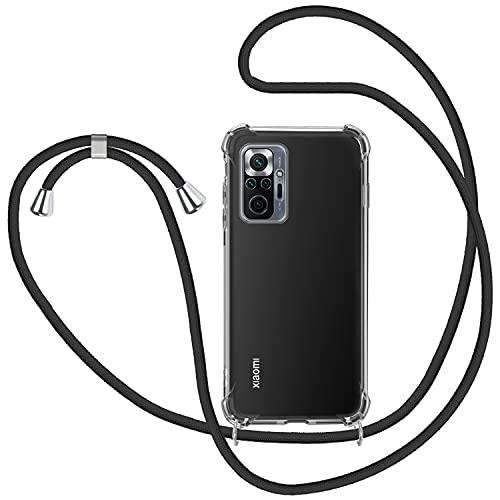 SAMCASE Handykette Hülle für Xiaomi Redmi Note 10 Pro/Xiaomi Redmi Note 10 Pro Max, Necklace Hülle mit Kordel Transparent Silikon Handyhülle mit Kordel zum Umhängen Schutzhülle mit Band in Schwarz