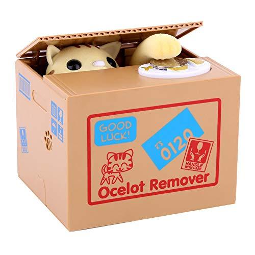 Cocoarm Elektrische Sparbüchse Kinder Money Box Automatische Spardose Katze Frisst Geld Sparschwein Spardose Katze Stehlen Münzen (Gelb Katzen)