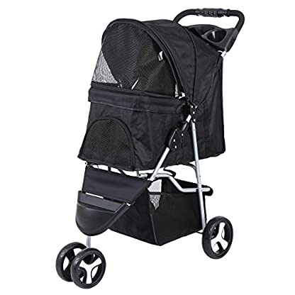 Yonntech Pet Travel Stroller Foldable Cat Dog Pushchair Trolley Puppy Jogger Buggy Dog Carrier Maximum Weight 15Kg with Cup Holders Storage Basket Three Wheels (Black) 3
