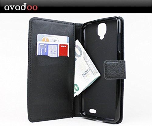 avadoo® Archos 55 Helium Ultra Flip Case Cover Tasche Schwarz mit Magnetverschluss & Dualnaht als Cover Tasche Hülle