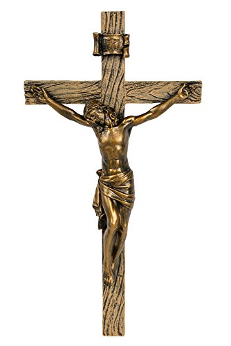 Antique Gold Finish Jesus Christ 8 inch Decorative Wall Cross Crucifix