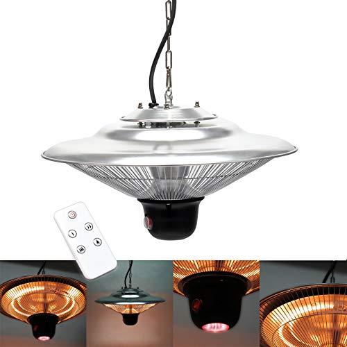 Wiltec Deckenheizstrahler mit 3 Heizstufen 500/1000/1500W, Fernbedienung & LED-Beleuchtung