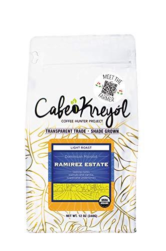 Cafe Kreyol - Dominican Republic Ramirez Estate Coffee | 12 oz - Light Roast Whole Bean Coffee - USDA Certified Organic