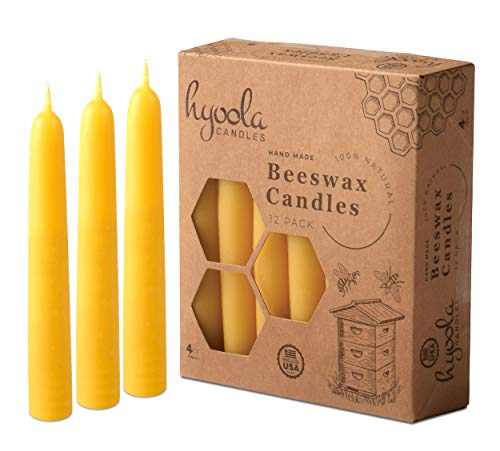 Hyoola Beeswax Candles 12 Pack – Handmade, All Natural, 100% Pure Scented Bee Wax Candle - Decorative, Golden Yellow – 4 Hour Burn Time