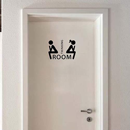 Amovible Salle De Pensée Toilette Décoration Autocollants Porte De Toilette Wc Indication Marque Autocollants S Taille Noir Colo Autocollant