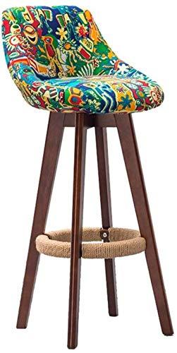 Tabouret de bar en bois marron rotatif à 360 ° pour cuisine, maison, bar, comptoir, chaise commerciale avec dossier et coussin en tissu vert