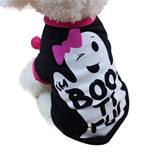 Fossrn Perro Ropa Disfraz Halloween Camiseta para Pequeño Chihuahua Yorkshire Mascota Cachorros (M, boo ti ful)