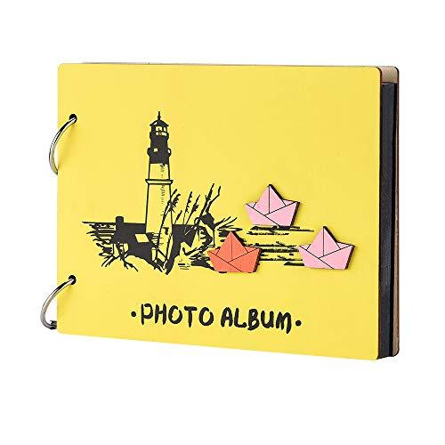 Álbumes de Fotos para Bebés Álbum de Recortes de Madera DIY Crecimiento Álbum 8 '' 60 Páginas Negras Libro de Recuerdos para San Valentín Aniversario Cumpleaños con Caja de Regalo (Faro, 8