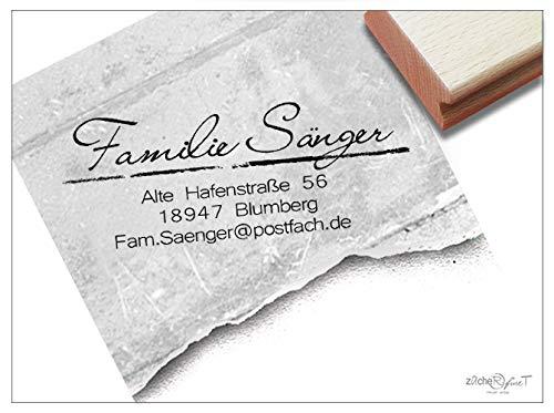 Stempel Adressstempel SCHLICHT ELEGANT individuell personalisiert - Holzstempel Familienstempel Firmenstempel, Name Adresse Anschrift Schule Beruf Familie - zAcheR - fineT