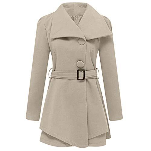 FRAUIT dames revers wollen jas trenchcoat lange mouwen mantel vrouwen met riem OneSize lang en kort