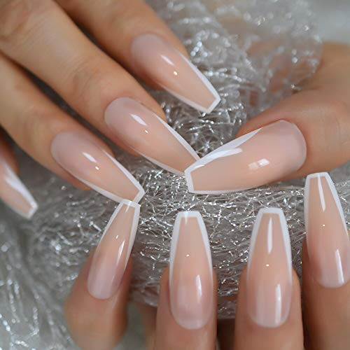 CoolNail Glossy White French Press on False Nails Extra Long Coffin Ballerina Shape UV Gel Nude Fingersnails Free Adhesive Tapes 24pcs