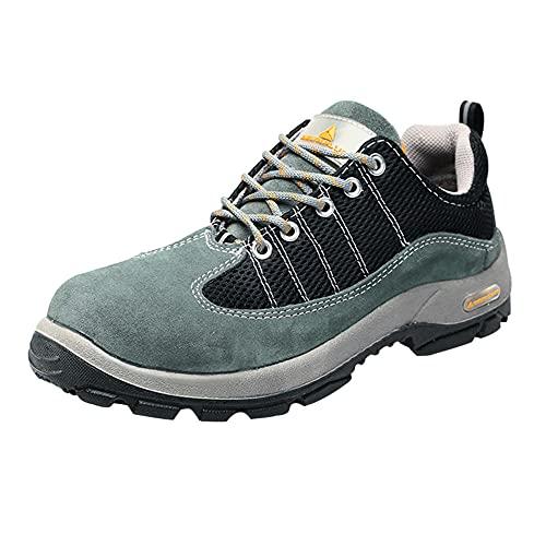 Zapatos De Seguridad para Hombre,Punta de Acero Zapatos Ligero Zapatos de Trabajo Respirable Construcción Zapatos Botas de Seguridad,Gray-Black▁39
