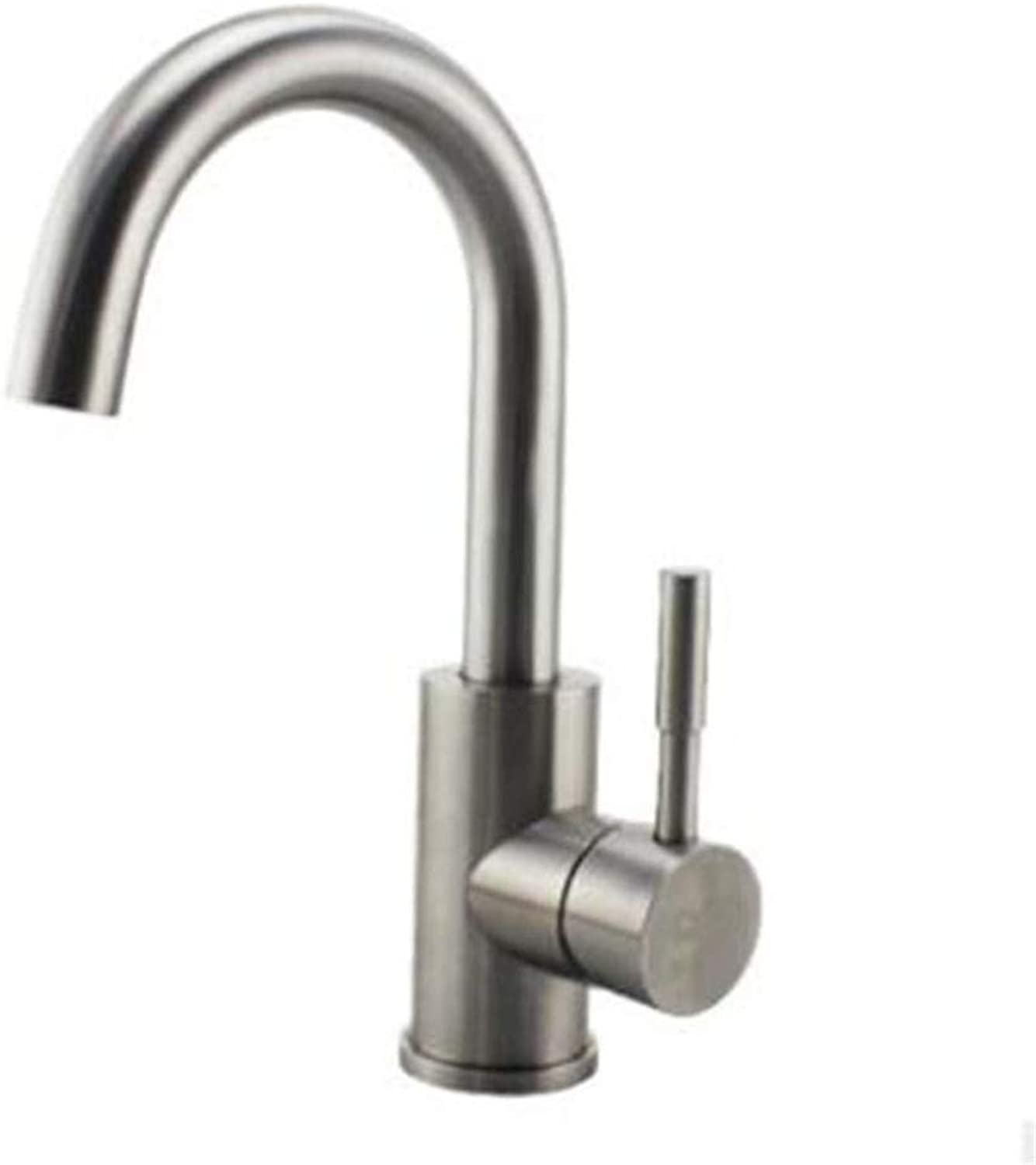 Water Tap Bathroom 304 Stainless Steel Brushed Lead-Free Sink Faucet redary Sink Faucet Hot and Cold Kitchen Faucet