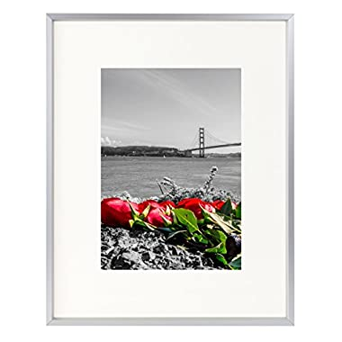 Frametory 8x10 Table-Top Metal Picture Frame Collection, Aluminum Photo Frame with Ivory Color Mat for 5x7 Picture & Real Glass (Silver)