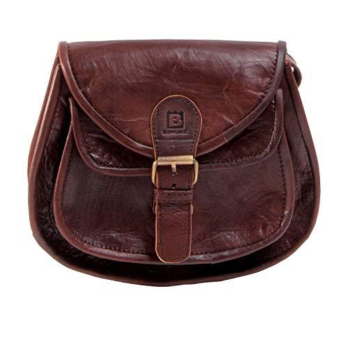 Handtasche Leder Binoar Mia Nature Umhängetasche Ledertasche Damen Vintage Look Naturleder Braun Handmade Fairtrade Cognac Frauen aus Leder klein