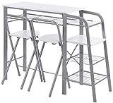 ts-ideen 3-teilige Essgruppe Frühstückstisch Stuhl Theke Tisch Bar Weiß Regal Metall + MDF