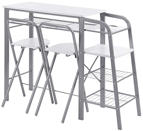 ts-ideen Set 3 Pezzi Tavolo con 2 sgabelli in Alluminio e MDF Color Bianco per Cucina o Sala da Pranzo
