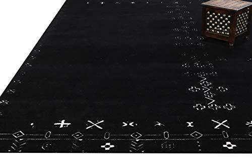 Alfombras y alfombras Arria Nomad Motifs de 250 x 300 cm, hechas a mano, 100% lana, color negro