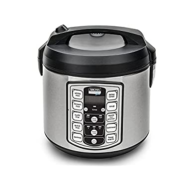 Aroma Professional Plus ARC-5000SB 20-Cup (Cooked) Digital Rice Cooker, Food Steamer, Slow Cooker, Stainless Exterior/Nonstick Pot