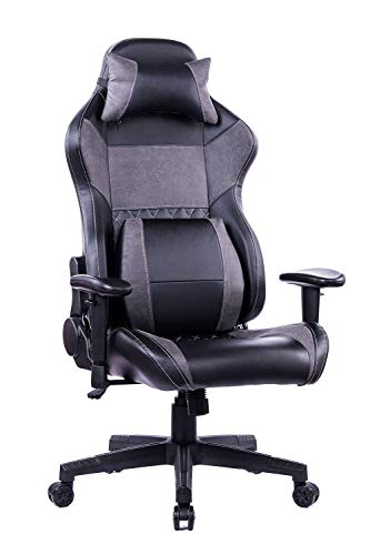 KILLABEE Back Massage Gaming Chair, PC Computer Video Game Racing Gamer Chair High Back Reclining Executive Ergonomic Desk Office Chair with Headrest Lumbar Support Cushion (8260Grey-1)