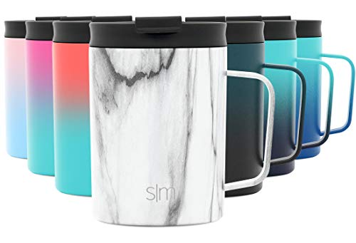 Simple Modern 12oz Scout Coffee Mug Tumbler - Travel Cup for Men & Women Vacuum Insulated Camping Tea Flask with Lid 18/8 Stainless Steel Hydro Pattern: Carrara Marble