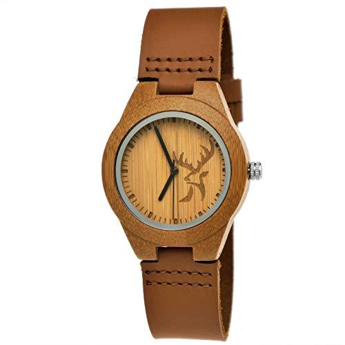 Handgefertigte Holzwerk Germany ® Designer Hirsch Öko Damen-Uhr Mädchen-Uhr Öko Natur Holz-Uhr Leder Armband-Uhr Analog Klassisch Quarz-Uhr in Braun mit Hirsch Motiv
