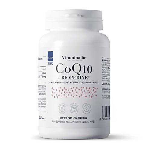 Coenzima Q10 de Vitaminalia | Dosis Diaria 100mg Ubiquinona | Con Extracto de Pimienta Negra 100% Piperina | Suministro para 6 Meses | Vegano, Sin Gluten, Sin Lactosa, 180 veg caps