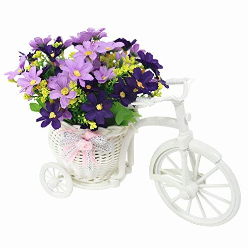 JAROWN Mini Bicycle Flower Stand Hand-Woven Basket Vase for Wedding Room Decoration(Purple Daisy)