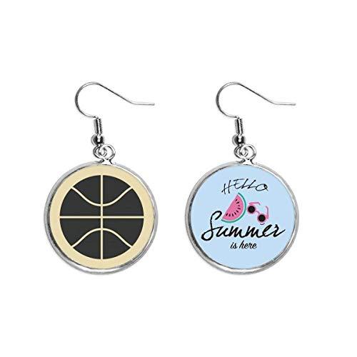Basketball-Sport-Ohrringe mit einfachem geometrischem Muster, Sommer-Wassermelone