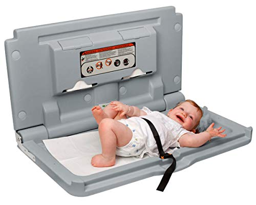 Alpine Industries Wall Mounted Baby Changing Station - Horizontal Fold Down Diaper Changing Table with Safety Strap - Ideal for Commercial Bathrooms (Gray)
