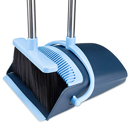 Broom and Dustpan Set 2020 Outdoor Or Indoor Broom Dust Pan 3 Foot Angle Heavy Push Combo Upright Long Handle for Kids Garden Pet Dog Hair Lobby Wood Floor Sweeping Kitchen House (Broom Blue)