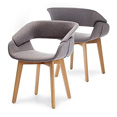 Ivinta Modern Living Dining Room Accent Arm Chairs Set of 2 Linen Fabric Mid-Century Upholstered Side Seat Club Guest with Solid Wood Legs