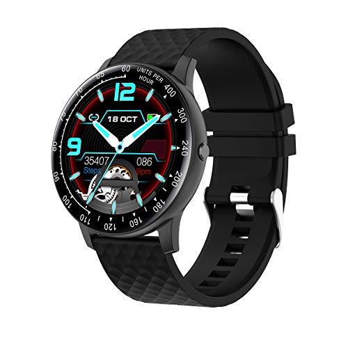 Smartwatch,Reloj Inteligente Fitness Tracker Hombres Mujeres Niños Impermeable IP67 Muñeca Pulsómetros Podómetro Toque Completo Caloría Pulsera de Actividad Reloj Deportivo para Android iOS (negro)